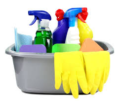 cleaning material supplies in a bucket