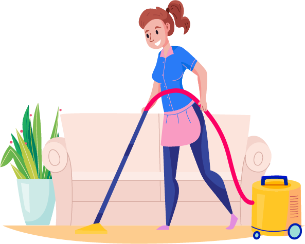 cleaning service vacuuming woman