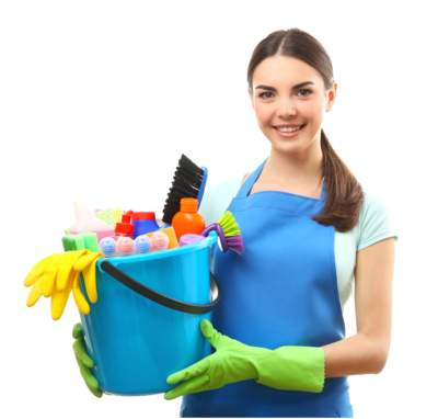 maid with cleaning tools