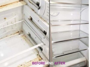 Fridge-before-and-after-cleaning