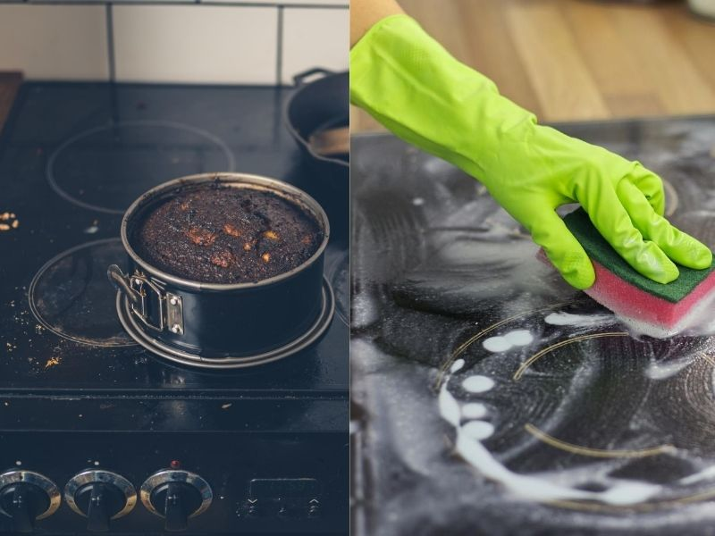 Cleaning a regular glass hob